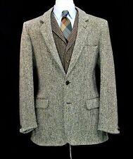 Harris Tweed UK Jacket 40R Med Dunn Co Blazer Sport Coat Beige Olive Barleycorn