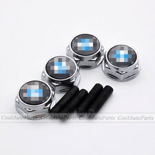4PCS Silver Car License Plate Frame Decor Screws Bolts Caps Covers Fits For BMW