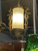 1930's Art Deco Yellow Glass Single Ceiling Light & Fixture