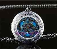 Blue celtic triquetra Cabochon Glass Tibet Silver Locket Pendant Necklace