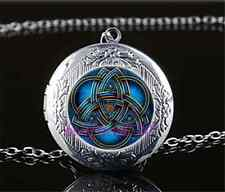 Blue celtic triquetra Cabochon Glass Tibet Silver Locket Pendant Necklace