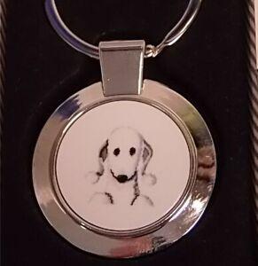 Bedlington Terrier dog metal keyrings - Bedlington Terrier gift