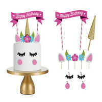 UK Unicorn Glitter Cake Topper Happy Birthday Candle Party Supplies Decor DIY j8