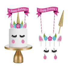 DIY Unicorn Cake Topper Happy Birthday Candle Set Party Supply Decor Kids Tool
