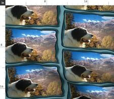 Dog Blue Animals Landscape Mountains Pyrenean Spoonflower Fabric by the Yard