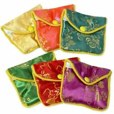 """12 Fancy Silk Chinese Jewelry Purse Pouches with Zipper Gift Bag Pouch 3"""" x 2.5"""""""