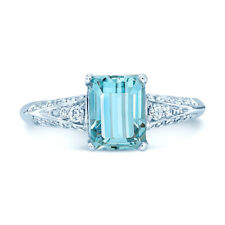 1.82 TCW Aquamarine And Diamond Ring In 18k White Gold