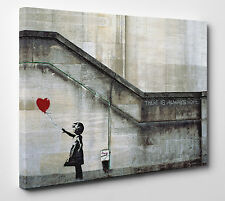 "Wall Art Banksy ""Always Hope"" Balloon Love Heart Girl Canvas Print Size A1 Large"
