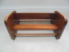 Vintage wooden book trough, mid century 1960s, solid teak shelf display