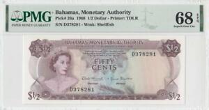 1968 BRITISH COLONY BAHAMAS QEII $1/2 **RARE** (( PMG 68 EPQ ))