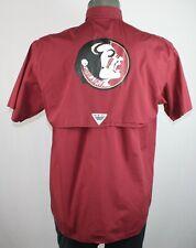 Florida State Seminoles FSU Columbia PFG S/S Fishing Shirt S ncaa garnet