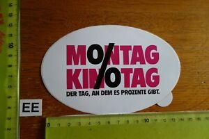 Alter Aufkleber Bühne Film Kino Video MONTAG KINOTAG Prozente