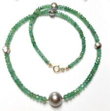 30ct Genuine Emerald Tahitian Keshi grey  pearl necklace 14k solid gold