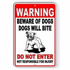 Warning Sign Beware Of Dogs Do Not Enter Dogs Will Bite Metal pitbull Sbd027