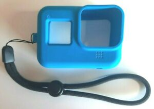 GoPro HERO8 Silicone Antishock Protective Case/Cover & Wrist Strap - Blue