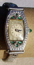 VINTAGE BULOVA ART DECO LADIES LADY WRIST WATCH GREEN SAPPHIRE