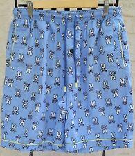 Psycho Bunny Light Blue All Over Print Cotton Woven Jam Lounge Shorts Sz L Euc