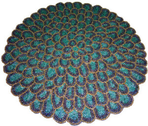 """Hand Beaded And Glass & synthetic Beads Round Placemats chargers Table mat 15"""""""