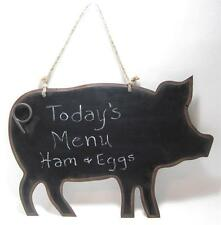 """Country Style Pig Shaped Metal Chalkboard Double Sided Wall Hanging 17""""x11"""""""