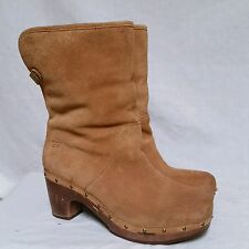 Ugg Lynnea Boots Wooden Heek Shearling Tan Winter Dress Leather Womens Size 8