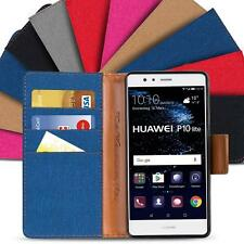 Huawei P10 Lite Phone PU Leather Magnetic Flip Case Wallet Denim Cover Holder