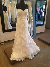 MARY'S BRIDAL GOWN #8146 ANGORA SATIN/TULLE WEDDING DRESS FIT & FLARE SIZE 16