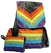 Stonewashed Rainbow Hippie Backpack with Bonus Change Purse Cosmetic Bag