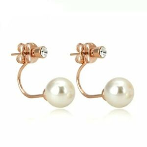 Simulated Pearl & Crystal Earring Jackets - Rose Gold Plating - New in Gift Box