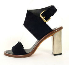 CELINE Midnight Blue Suede Strappy BAM BAM Metal Heels Sandals 35