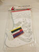 CHRISTMAS COLOR-ME STOCKING INCLUDES 8 MARKERS NON TOXIC  SANTA CLAUS