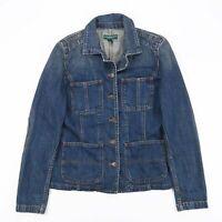 Vintage RALPH LAUREN Blue Casual Classic Denim Jacket Womens Size Small