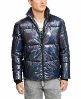 INC Mens Jacket Blue Size XL Puffer Front Zip Iridescent Hooded $225 #189