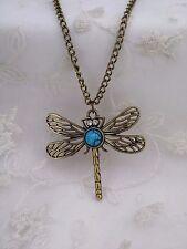 Long Gold Dragonfly Pendant Necklace Turquoise Rhinestone Fashion Jewelry NEW