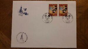 Enveloppe 1er jour 3641 Fête timbre Disney Disneyland Mickey 2 cachets CHESSY TB