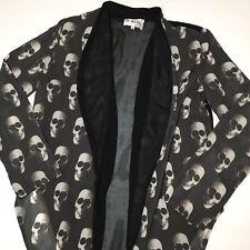 SABO SKIRT Sheer Open Front Blazer Skull Novelty Print Blouse Goth Sz M