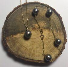 8.5-8.8mm Black Pearl & Diamond Pendant Necklace & Bracelet Set 14k Yellow Gold