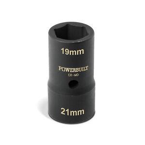 Powerbuilt 1/2 in. Double-End  19mm x 21mm Metric Flip Lug Nut Socket - 641164