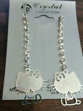 New Silver Hello Kitty Style Dangle pierced Rhinestones Earrings  Ships Today