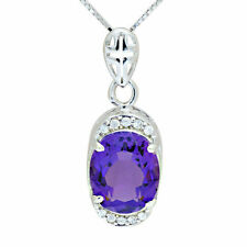 3.4ct Natural Oval Amethyst & CZ Pendant Necklace 925 Silver special occasion