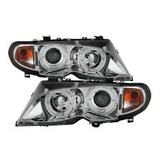 Spyder Projector Headlights LED Halo - Chrome for 02-05 BMW E46 3-Series 4DR