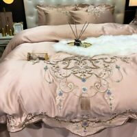 Luxury Champagne Silk Cotton Gold Embroidery Bedding Set Cover Fitted Bed Sheet