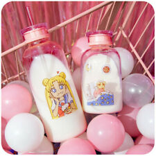 Anime Sailor Moon Glass Bottle With Straw Women Cute Water Cup Clear Glass Gifts