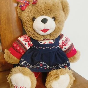"2019 WALMART CHRISTMAS SNOWFLAKE TEDDY BEAR BROWN GIRL 20"" Blue DRESS OUTFIT"