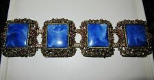 VINTAGE 1950s BRACELET LARGE MARBLED BLUE LUCITE PANELS ANTIQUED GOLD SETTING