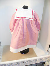 "24"" OLD STORE STOCK RED & WHITE STRIPED DOLL DRESS W/SQUARE COLLAR & PANTIES"