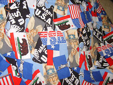 Fourth of July USA PRIDE Uncle Sam Military Fabric material sewing quilting