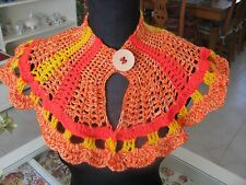 HANDMADE CROCHETED CAPELET COLLAR SCARF MULTI COLOR CHANGING COLOR THREAD GIFT