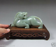 Vintage Chinese Hetian Celadon Nephrite Jade Antique Mythic Beast Statue
