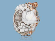 Ciondolo Rosa Fiori Cammeo ORIGINALE ft 50x41 argento 925 Rame WebS Corallo