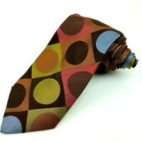 TED BAKER London Mens Tie 100% Silk Necktie Designer Polka Dot Brown Palette
